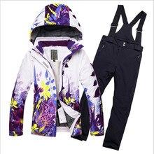 fcfd30f87e64f 2019 polar niñas traje de esquí impermeable niños chaqueta de esquí  pantalones de esquí térmico de los muchachos de invierno esq.