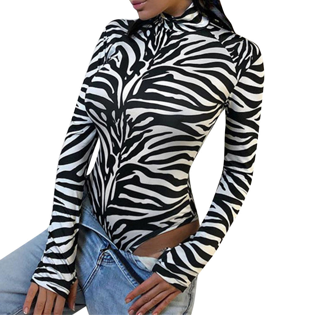 Women's Zebra High Collar Long Sleeve rompers solid print Bodysuit Shirt Slim Sexy Casual Skinny Playsuit