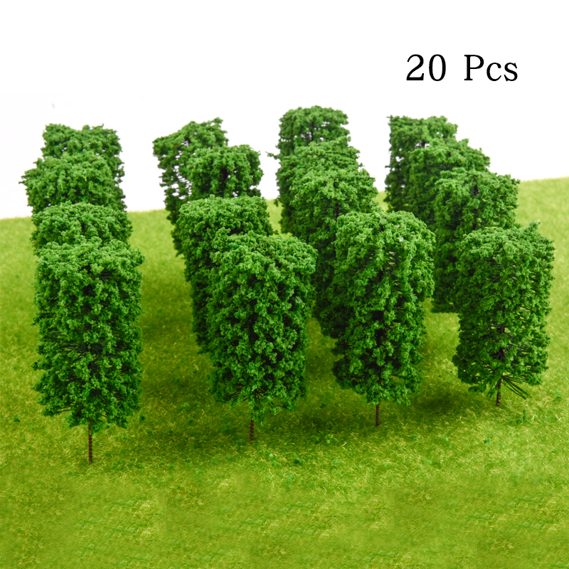 20PCS Ho Scale Plastic Miniature Model Trees For Building Trains Railroad Wargame Layout Scenery Landscape Diorama Accessories