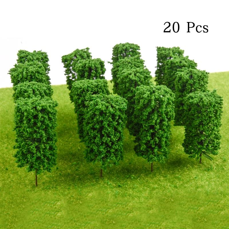 20PCS Ho Scale Plastic Miniature Model Trees For Building Trains Railroad Wargame Layout Scenery Landscape Diorama Accessories