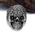 New Design Alloy Skull Rings Hot Men's Punk Style Flower Skull Biker Ring Fashion Skeleton Jewelry 2017 one Size