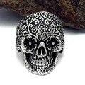 New Design Alloy Skull Rings Hot Men's Punk Style Flower Skull Biker Ring Fashion Skeleton Jewelry 2017 one Size