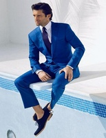 (Jackets+Pants+Bow Tie+Handkerchief) 2017 New Brand Wedding Party Men Business Suits Slim Fit Fashion Blue Men Tuxedos
