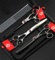 7.5 inch Pet Hair Cutting Scissors Sets Dog Grooming Shears Cutting & Thinning & Curved Shears Pet Scissors