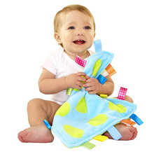 Купить с кэшбэком Taggies Baby Care Comforting Blanket Coral Fleece Baby Toys Soft Toddler Towel with Colors Label Newborn Reassure Towel 35*35cm