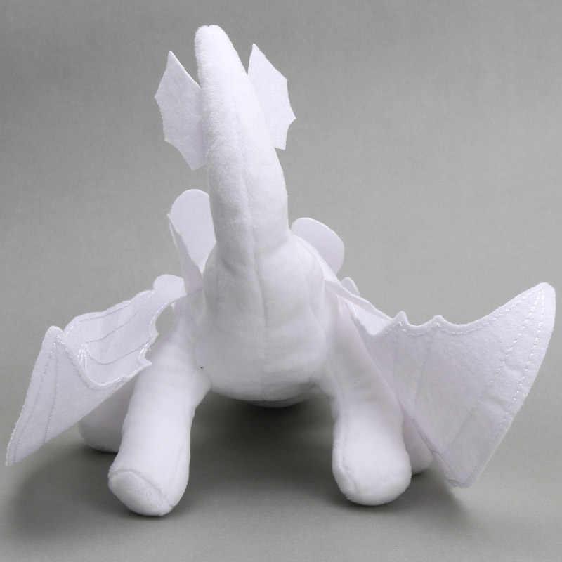 2 pcs 33 cm 35 cm Branco 3 Desdentado How To Train Your Dragon Plush Toys Fúria Da Noite Luz Branca fúria Dragão Boneca de pelúcia Bicho de pelúcia
