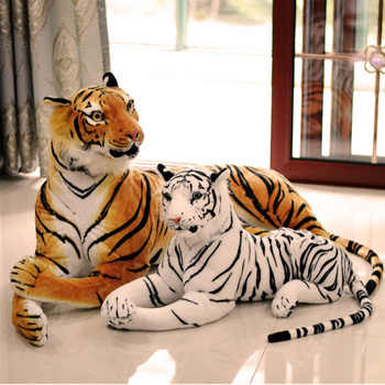 Fancytrader Realistic Emulational Lying Tiger Plush Toys Big Stuffed Animals Tiger Doll School Photography Props