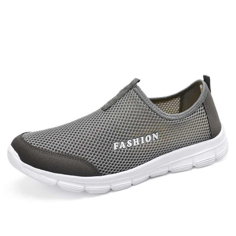 2018 Nova Unisex Sneakers Leves Homens Malha Respirável Sapatos Baixos Casuais Deslizar Sobre Mocassins Sapatos Casuais Sapatos de Moda Masculina Mocassim Masculino