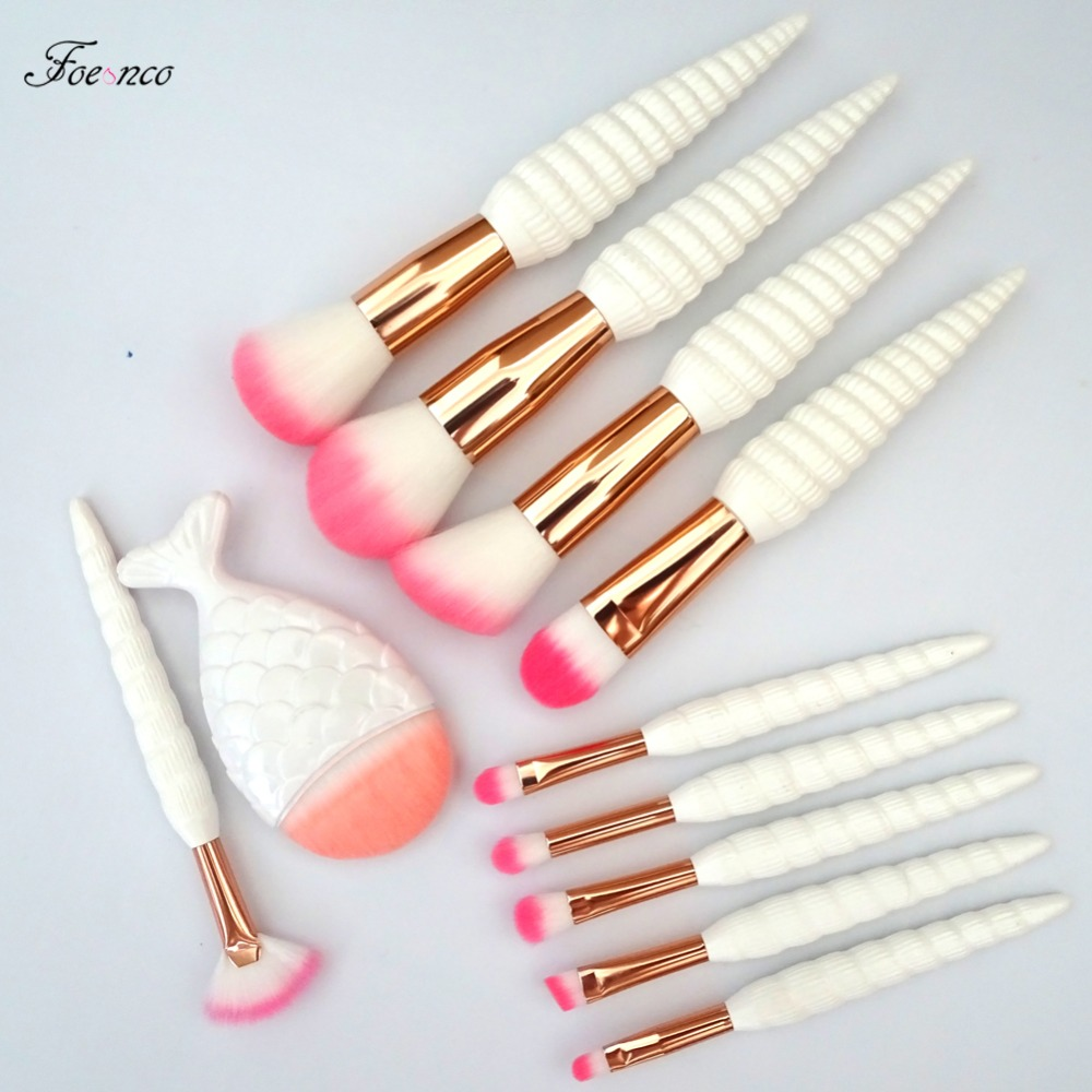 11Pcs Unicorn Conch Shell Makeup Brushes Set Mermaid Foundation Powder Cosmetics Eyeshadow Face Kabuki Make Up Brush Tools Kit 11pcs diamond rose gold makeup brush set mermaid fishtail shaped foundation powder cosmetics brushes rainbow eyeshadow brush kit