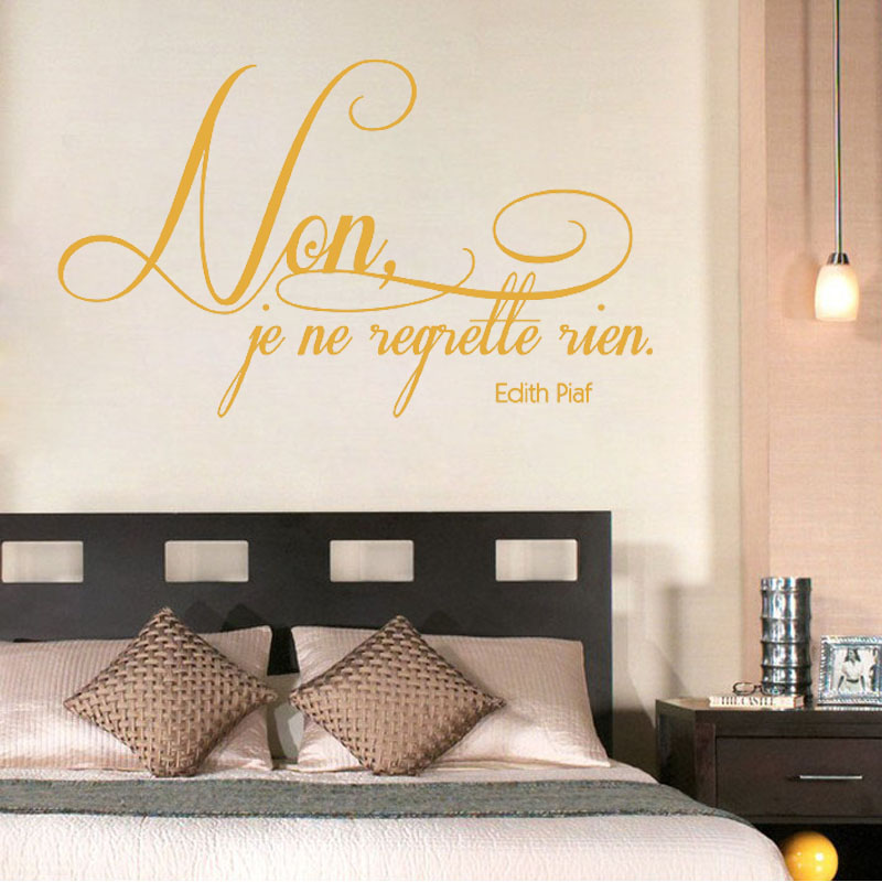 No I Do Not Regret Anything French Sentence Wall Sticker Art Home Decor Adhesive Living