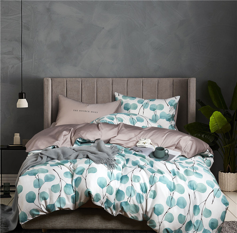 22Colors Luxury Egyptian Cotton Bohemia Bedding Set Queen King size 3d Flower Leaf print Duvet Cover Bed sheet set Pillowcase