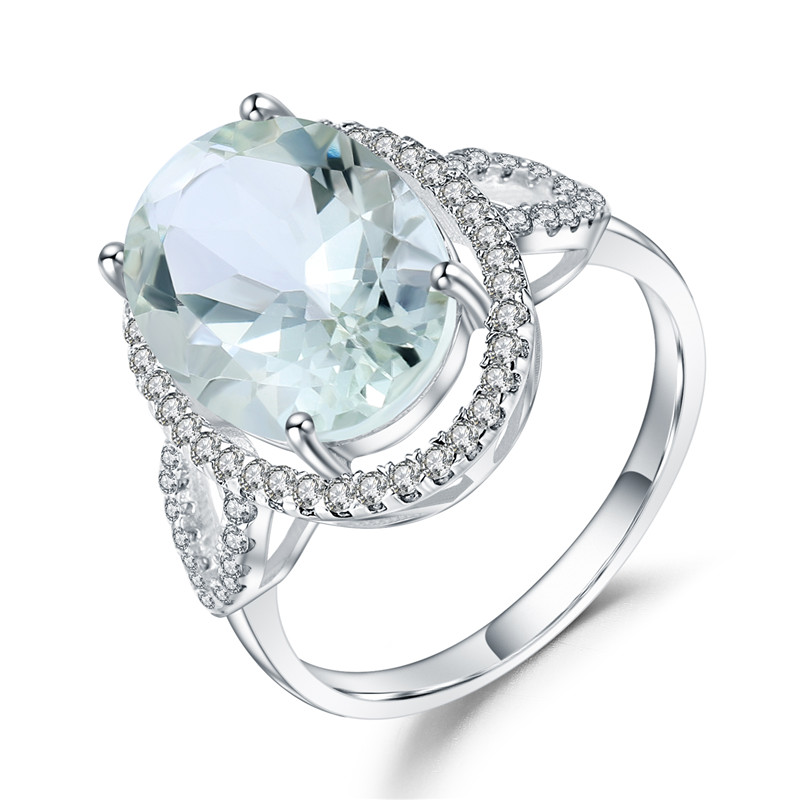 GEM'S BALLET 925 Sterling Silver Wedding Ring For Women Luxury 5.57Ct Oval Natural Green Amethyst Gemstone Rings Fine Jewelry