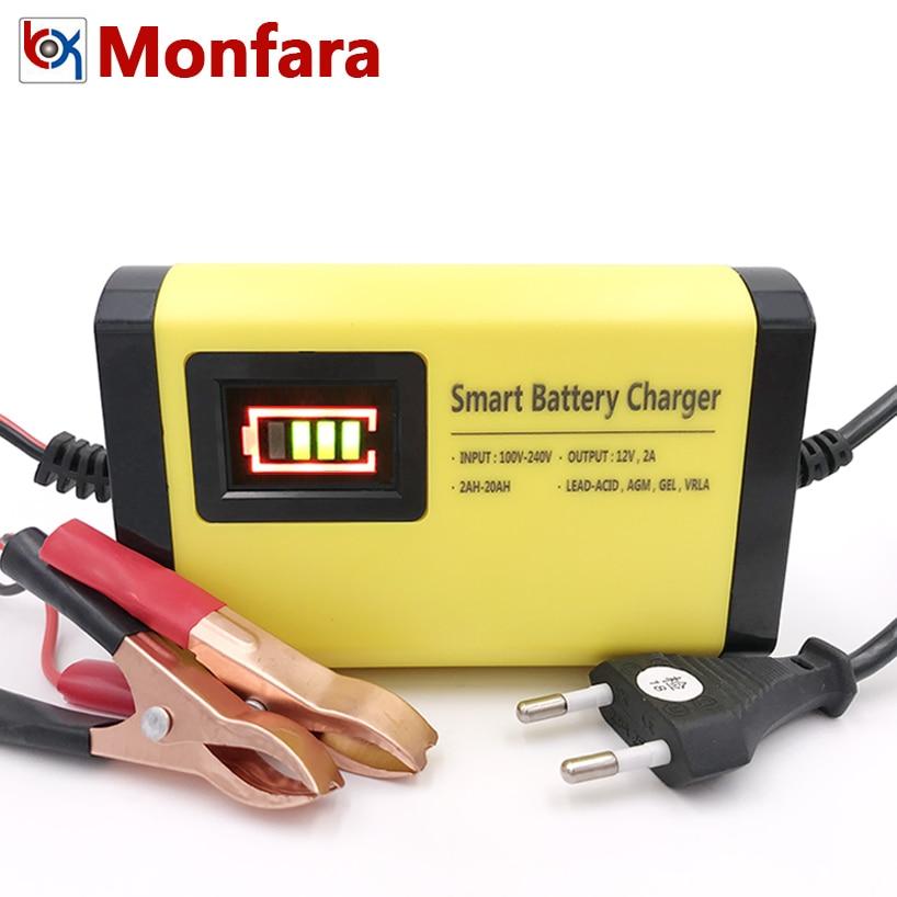 цена на YX201 12V 2A Smart Car Battery Charger Automatic Auto Motorcycle Lead Acid AGM GEL 12 V Volt Moto Intelligent LCD Display 220V