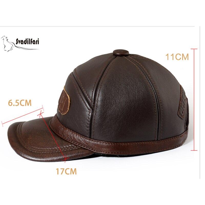 Svadilfari Hot Seller hiver 2018 peau de vache Baseball personnes âgées casquette cadeau pour papa maman en cuir véritable oreille homme femme chaud chapeau décontracté - 2