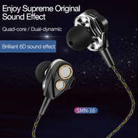 Cafele Dynamic Dual Driver In Ear Earphone 4D Noise Isolating HiFi Music Sports Earphone Earbuds for Running With Microphone MIC