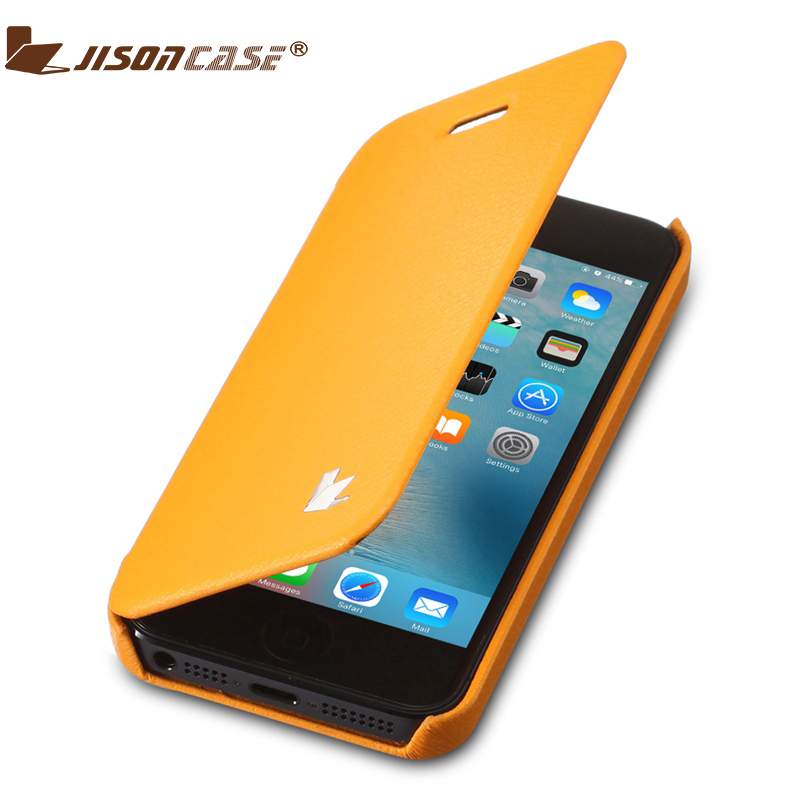 Jisoncase For iPhone 5 5S Case Leather Cover for iPhone SE 5s 5 Fundas Folio Flip Fully Protective Microfiber Phone Bags & Cases