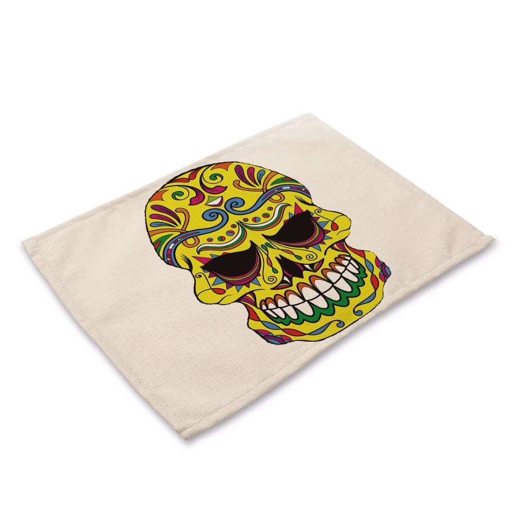 Fashion skull Pattern Table Mat art Table Napkin Placemat Kitchen ...