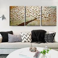Muya tríptico pintura abstracta moderna de la lona de arte decorativo lienzo pintura del cuchillo de paleta pintura árbol de flor de cerezo blanco
