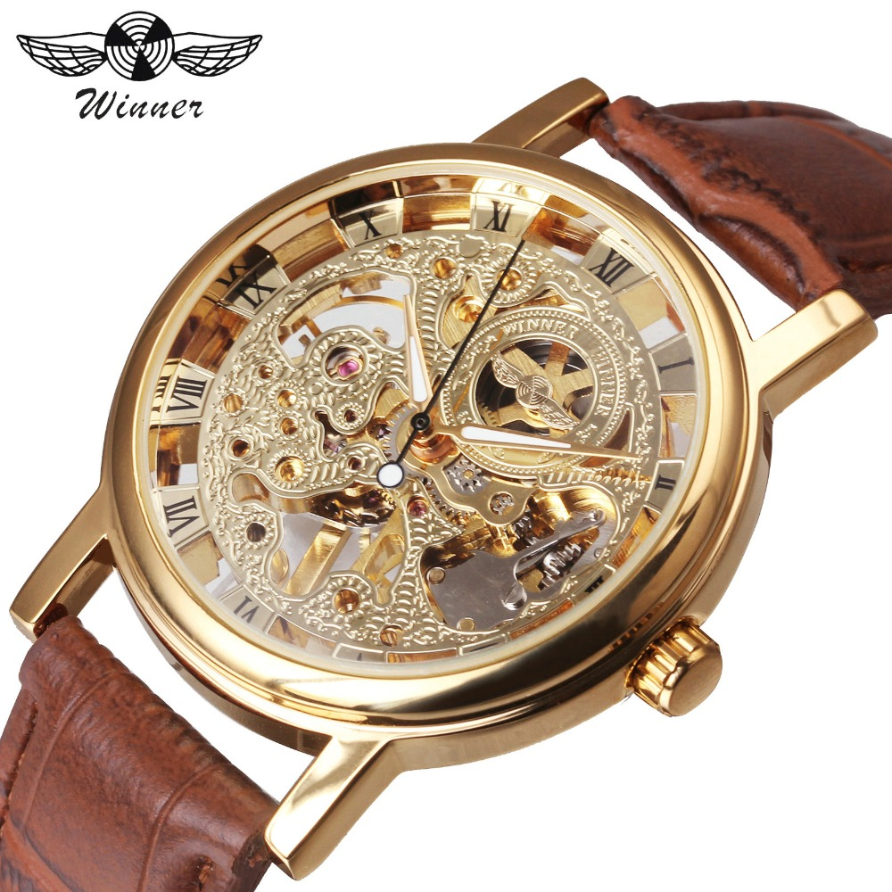 2018 Ny Hot Sale Skelett Mode Mekaniska Män Klocka Vinnare Luxury Branded Business Läder Rem Armbandsur CLASSIC GOLD