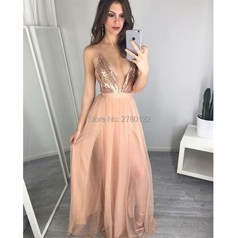 Sexy paillettes 2019 longues robes de bal nouveau chaud profond col en v bretelles Spaghetti côté fendu en mousseline dos nu robes de soirée formelles