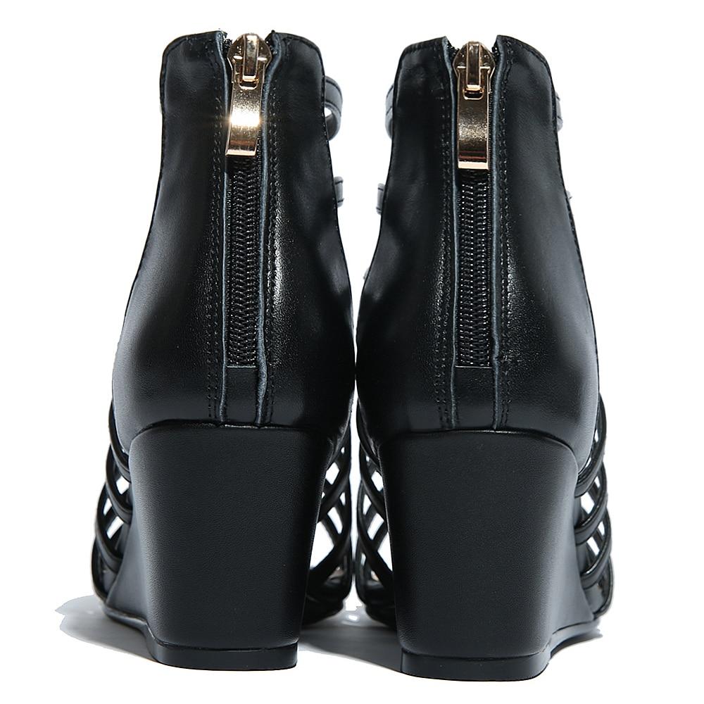 Marque Rivet Bottes Black white Véritable Cuir De Chaussures Femmes Wedge T Cheville strap Sandalias Vente Designer Gladiateur Sandales D'été Confortable 8wqUvH6xB