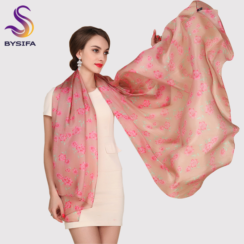 [BYSIFA] Utralarge Women Fashion Coffee Pink Long Silk   Scarf   Spring Autumn Ladies's Apparel Accessories   Scarves     Wraps   200*110cm