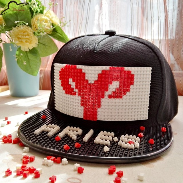 12 zodiac signs baseball hat Blocks Detachable DIY Brick  hip-hop Snapback Hats constellation pattern cap for men women
