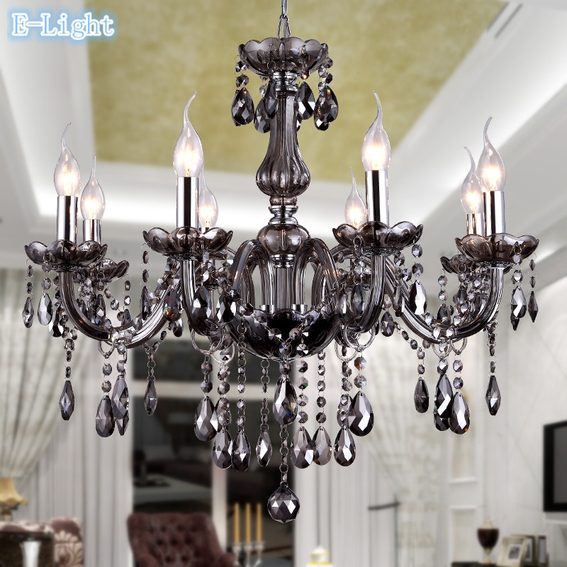 Modern 6 8 10 12 Crystal Chandeliers Lighting For Living Room Bedroom Gray Color K9 Crystal Lustres de teto Ceiling Chandelier