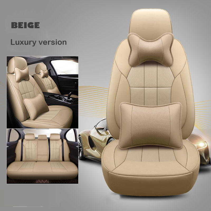 custom cowhide car seat cover leather for 7 seat Nissan Patrol y61 y62 y60 Peugeot 308SW Buick Enclave accessories car styling