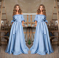Boat neck Flat Off Shouders Bohemian Blue Maxi Dresses Dotted Bow Boho dress Party Ball Gown Formal Long Dresses