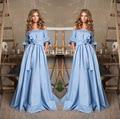Cuello barco plano fuera shouders vestidos maxis de bohemia azul punteada arco boho dress vestido de bola del partido vestidos largos formales