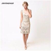 JINYINGHUO 2017 Fall New Sequin White Beaded Fringe Flapper Dress Double Sleeveless Tiered Tassel Party Dress