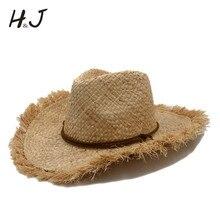 Sombrero de vaquero de paja de rafia para hombre de verano puro para  caballero Boater ancho Panamá Jazz sombreros padrino Sombre. d706a7e1aa4