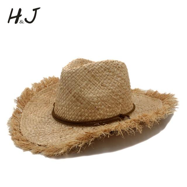 Trabalho manual puro verão ráfia palha chapéu de vaqueiro para cavalheiro  dos homens das mulheres aba 1a785e92ffd