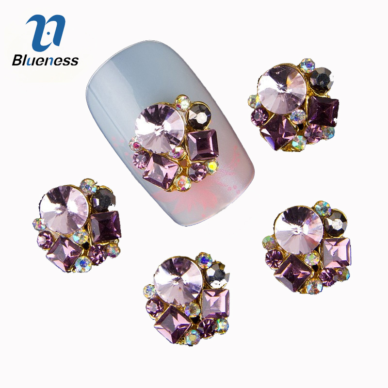 Blueness 10Pcs Nail Art Rhinestone Supplies Alloy DecorationS For Nail Jewelry Crystals Sticker For Manicure Glitter Studs TN310 blueness 10pcs nail art decoration charms glitter rhinestone for strass silver alloy bow design adhesives studs accessory tn172