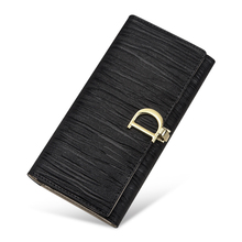 Купить с кэшбэком Elegant Fashion Genuine Leather Women Wallets Long Women 3 Fold Coin Purse Fashion Female Clutch With Card Holder Large Capacity