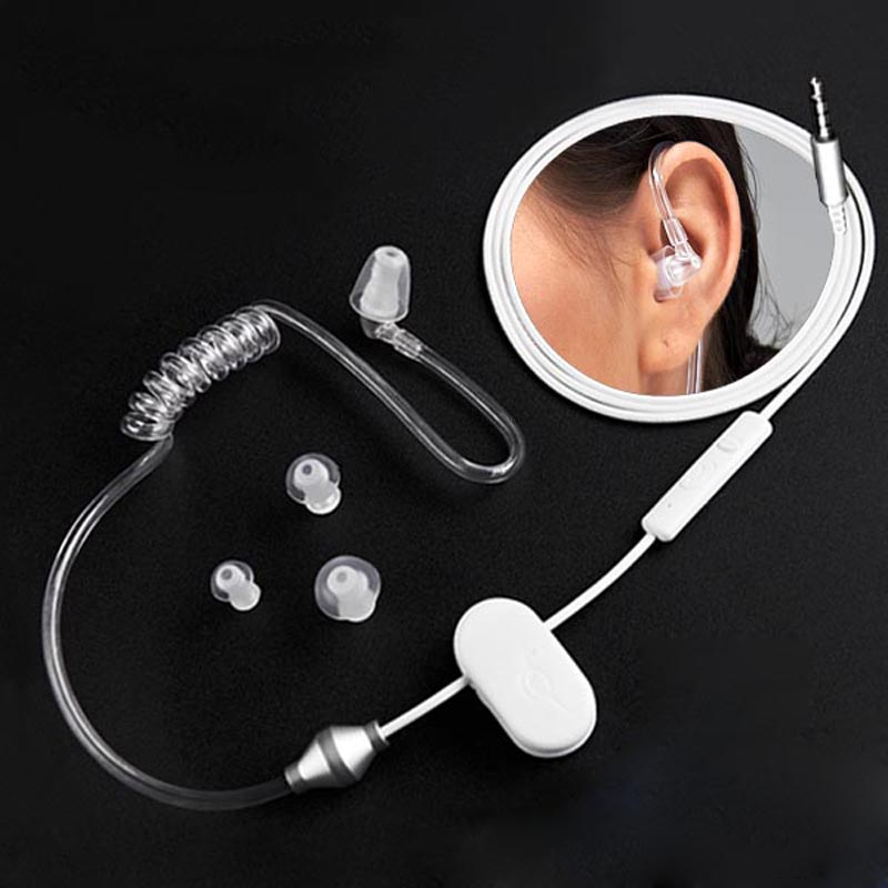 Phone Radiation Proof In Earphone Vacuum Spiral Tube Headphone 3.5MM Single Ear Elastic Line Control Earbuds Heathy Earpiece