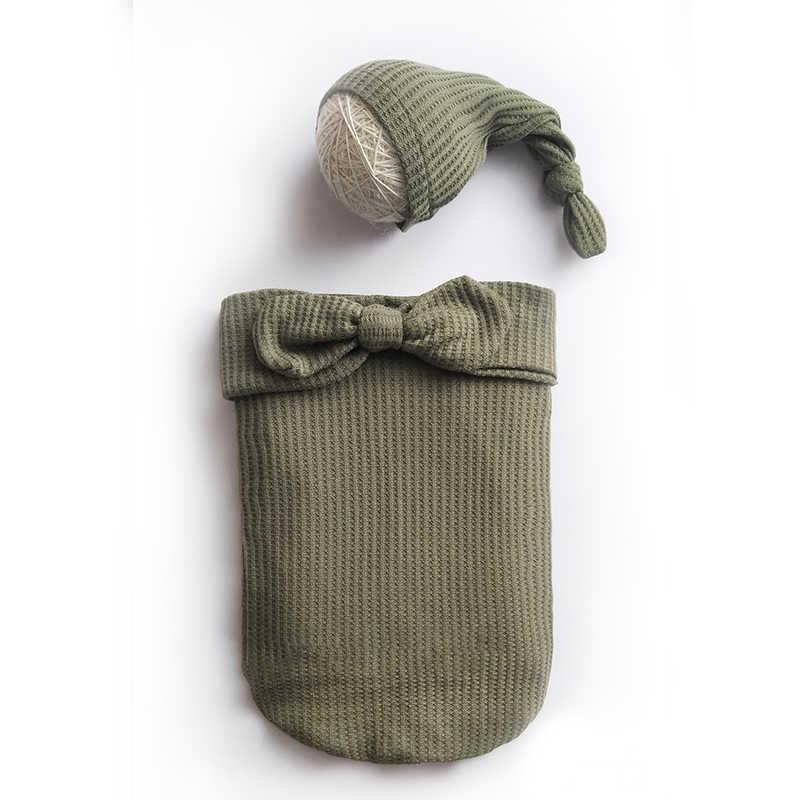 De algodón recién nacido saco de dormir Bebé accesorios de fotografía envuelve + sombrero elástico de punto recién nacido foto envuelve accesorios paño