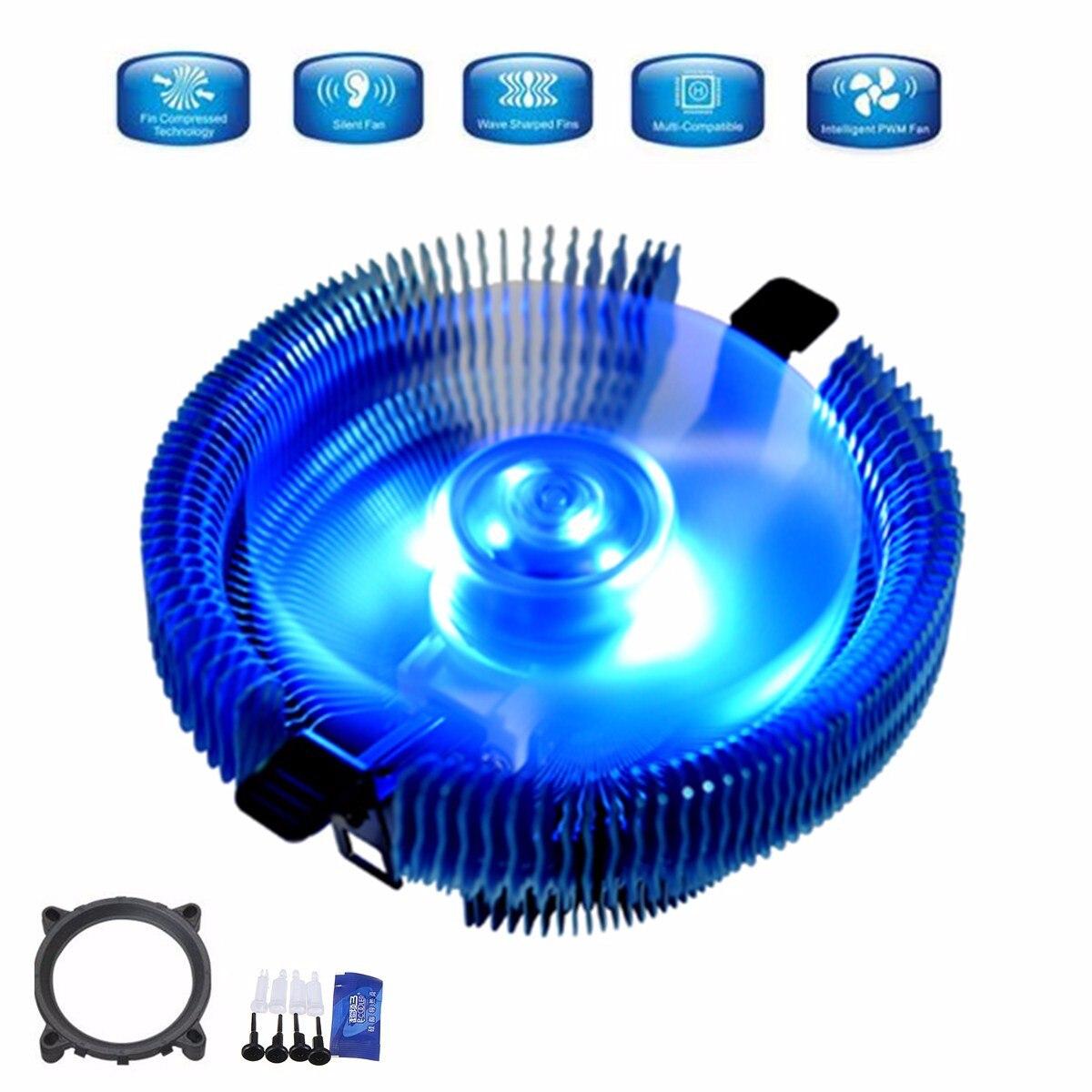 12V CPU Blue LED Cooling Fan 110x110x57mm 4pin for Intel LGA775 115X for AMD 754 939