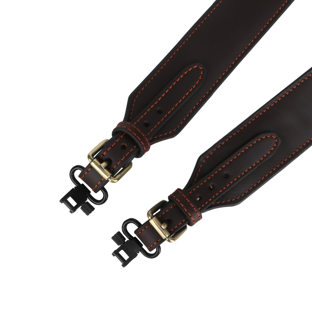 Tourbon Tactical Hunting Rifle Shotgun Sling Gun Genuine Leather Belt Strap w Swivels Adjustable Length Gun Accessories 1 SET in Holsters from Sports Entertainment