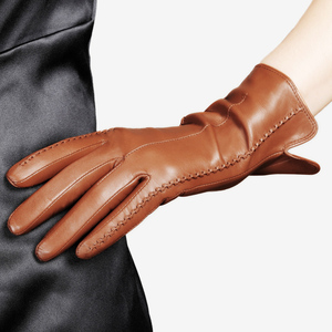 Image 3 - 高品質エレガントな女性本物のラムスキン革手袋秋と冬の熱ホットトレンディ女性グローブ L085