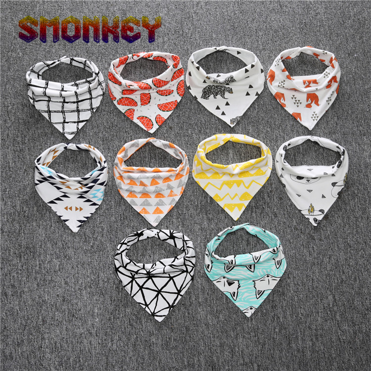 Ins hot!!! 2016 super cute brand baby bibs 100% cotton newborn infant feeding clothes Baby feeding triangle towel high quality