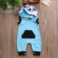 2017 Summer Fashion Newborn Baby Boys Long  Cross Print  Romper Jumpsuit Playsuit Clothes Outfits 0-24M