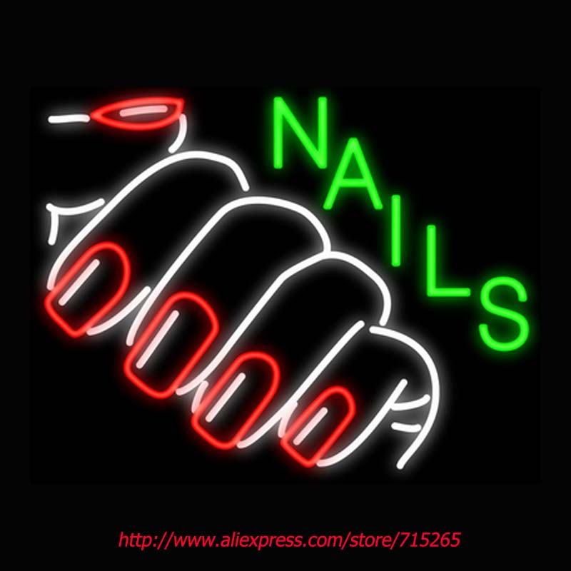 Nails with Red Nails Neon Signs Board Neon Bulbs Light Real GlassTube Handcrafted Beer Bar Pub Led Signs Business Display 31x24