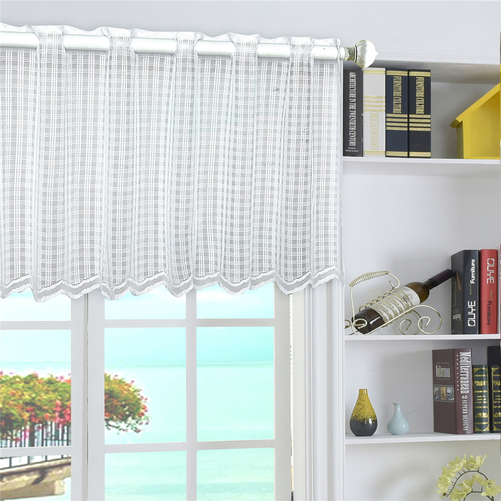 Dots Grid Mesh Short Curtain Window Dressing Rod Pocket Kitchen Cabinent Cupboard Bookshelf Valance 45150cm In Curtains From Home Garden On
