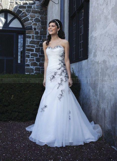 moda blanco organza vestidos de novia bordado negro trasera ata para
