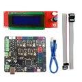 MKS Base V1.5 Placa Mendel Kit Impressora 3D RAMPS 1.4 MEGA2560 Placa Remix + 2004 Controlador LCD