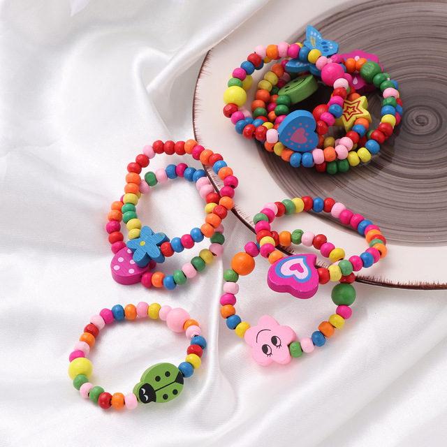 10pcs Natural Wood Kids Elastic Wooden Beads Bracelets Children Girls Party Gift (Random Color) 1