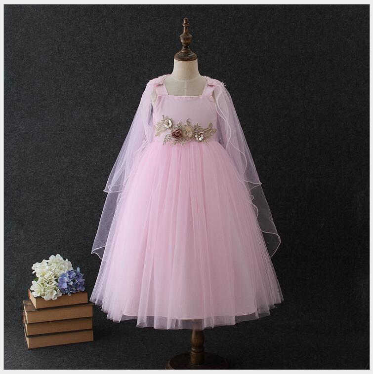 elegant teens flower embroidery dress with cloak girls sleeveless princess party tulle vestido kids girls fluffy tiered dress in Dresses from Mother Kids