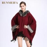 [RUNMEIFA] 2017 gloednieuwe herfst winter Kleine luipaard dubbele mantel sjaal gebreide vest shawl vrouw jas